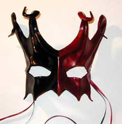 Sculpted leather jester mask - great face art or wall art.