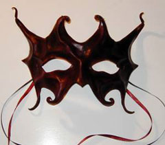 mahogany color - sculpted leather mask with ribbon ties